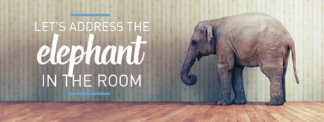 """Elephant in a room. Caption reads """"Let's address the elephant in the room."""""""