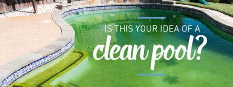 "in-ground pool with green water. Caption reads ""is this your idea of a clean pool?"""